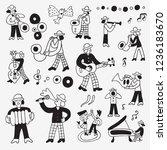 musicians   hand drawn doodle... | Shutterstock .eps vector #1236183670