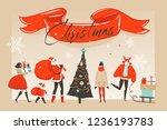 hand drawn vector abstract fun... | Shutterstock .eps vector #1236193783