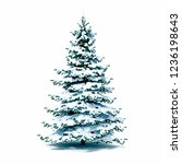 3d snow covered christmas tree... | Shutterstock . vector #1236198643