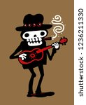 funny skeleton playing guitar.... | Shutterstock .eps vector #1236211330