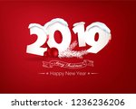 happy new year 2019 text design.... | Shutterstock .eps vector #1236236206