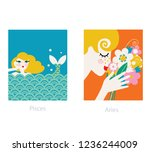 woman horoscope. aries and... | Shutterstock .eps vector #1236244009