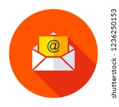email icon isolated on grey...