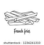 fried potatoes.  hand drawn... | Shutterstock .eps vector #1236261310