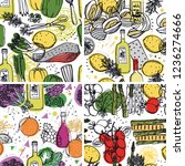 four seamless pattern food... | Shutterstock .eps vector #1236274666