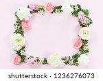 flower and leaves frame wreath... | Shutterstock . vector #1236276073