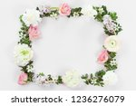 flower and leaves frame wreath... | Shutterstock . vector #1236276079