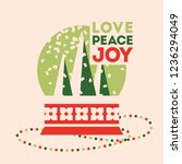 retro style christmas card with ... | Shutterstock .eps vector #1236294049