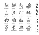 set of 16 usa linear icons such ... | Shutterstock .eps vector #1236299086