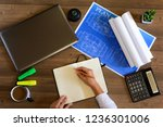 business notes in a notebook.... | Shutterstock . vector #1236301006