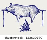roasted pig. doodle style | Shutterstock .eps vector #123630190