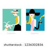 woman horoscope set. capricorn... | Shutterstock .eps vector #1236302836