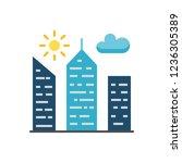 city building flat line vector... | Shutterstock .eps vector #1236305389