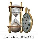 3d hourglass and stopwatch | Shutterstock . vector #123632473