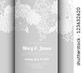 wedding card or invitation with ... | Shutterstock .eps vector #123632620