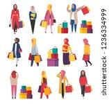 muslim shopping women with... | Shutterstock .eps vector #1236334999