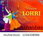 illustration of happy lohri... | Shutterstock .eps vector #1236338086