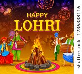illustration of happy lohri... | Shutterstock .eps vector #1236338116