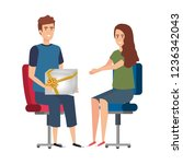 business couple sitting in... | Shutterstock .eps vector #1236342043