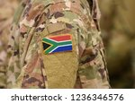 south africa flag on soldiers... | Shutterstock . vector #1236346576