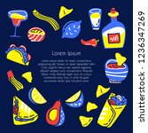 mexican food hand drawn vector... | Shutterstock .eps vector #1236347269
