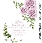 delicate pink roses anniversary ... | Shutterstock .eps vector #1236349930