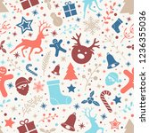 seamless pattern with christmas ... | Shutterstock .eps vector #1236355036