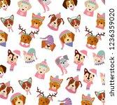 dog merry christmas card | Shutterstock .eps vector #1236359020