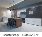 luxurious kitchen with... | Shutterstock . vector #1236364879