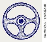 steering wheel. doodle style | Shutterstock .eps vector #123636658