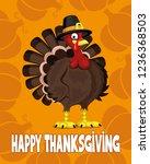 cartoon turkey on an orange... | Shutterstock .eps vector #1236368503