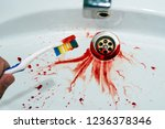 close up of toothbrush in male... | Shutterstock . vector #1236378346