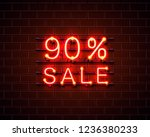 neon 90 sale text banner. night ... | Shutterstock .eps vector #1236380233