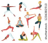 yoga colorful fitness concept.... | Shutterstock .eps vector #1236382513