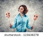 two masks with different... | Shutterstock . vector #123638278
