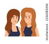 couple girls avatars characters   Shutterstock .eps vector #1236383206