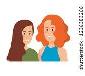 couple girls avatars characters   Shutterstock .eps vector #1236383266
