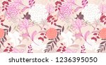 abstract geometric and floral... | Shutterstock . vector #1236395050