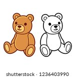 toy teddy bear  black and white ... | Shutterstock .eps vector #1236403990