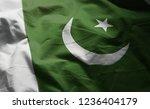 pakistan flag rumpled close up    Shutterstock . vector #1236404179