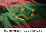 mauritania flag rumpled close...   Shutterstock . vector #1236404263