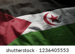 sahrawi flag rumpled close up  | Shutterstock . vector #1236405553
