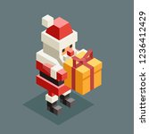 presenting gift santa claus... | Shutterstock .eps vector #1236412429
