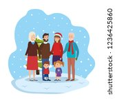 family members with winter... | Shutterstock .eps vector #1236425860