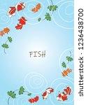 goldfish swimming in pond water ... | Shutterstock .eps vector #1236438700