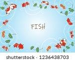 goldfish swimming in pond water ... | Shutterstock .eps vector #1236438703