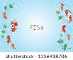 goldfish swimming in pond water ... | Shutterstock .eps vector #1236438706