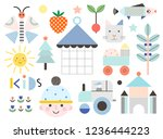 set of cute shapes and baby...   Shutterstock .eps vector #1236444223