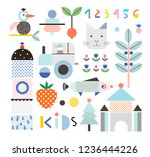 set of cute shapes and baby...   Shutterstock .eps vector #1236444226