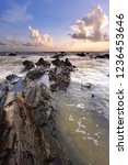 beautiful rocky beach at sunset ... | Shutterstock . vector #1236453646
